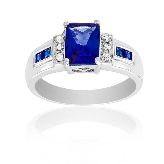Imagen de Rhodium Plated Brass Asscher Cut Rectangle SPPR Glass & Clear Cubic Zirconia Ring
