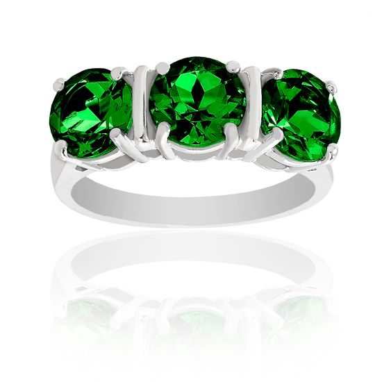 Picture of Silver-Tone Brass Triple Green Cubic Zirconia Ring Size 6