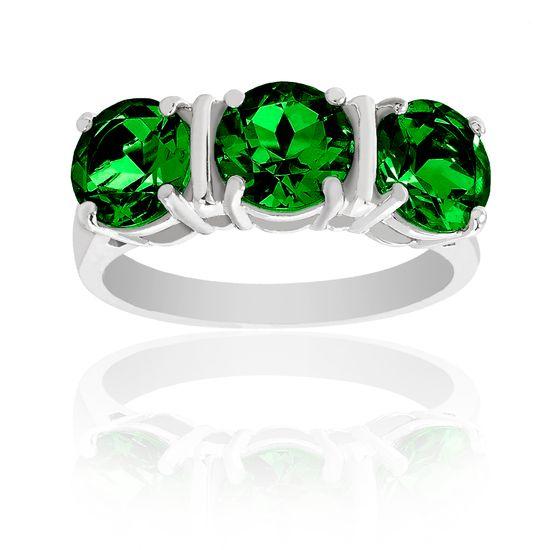 Imagen de Silver-Tone Brass Triple Green Cubic Zirconia Ring Size 6