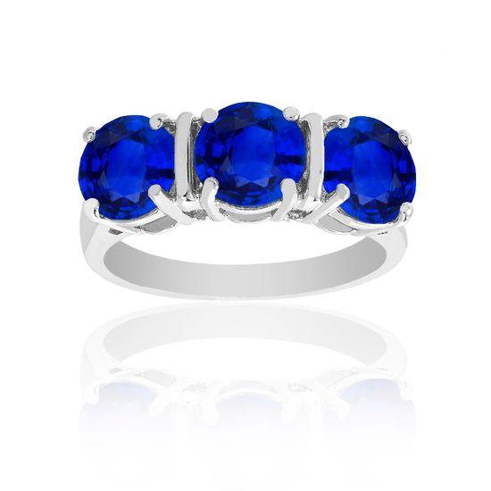 Imagen de Silver-Tone Brass Triple Blue Cubic Zirconia Ring Size 8
