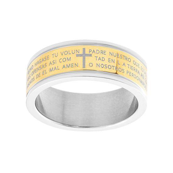 Imagen de Spanish Prayer Band Ring in Two-Tone Stainless Steel