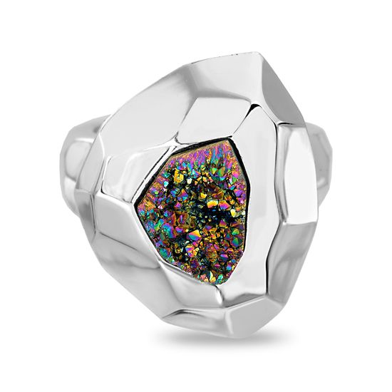 Imagen de Silver-Tone Stainless Steel Geo Shaped Multi Colored Druzy Ring Size 7