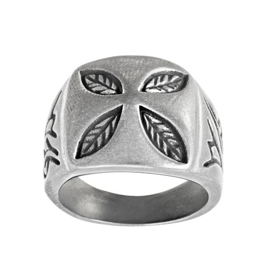 Imagen de Silver-Tone Stainless Steel Men's Aged Finish Leaf Design Ring Size 10