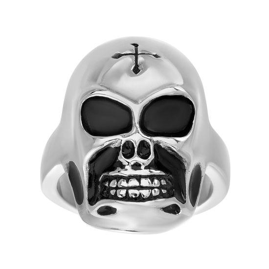 Imagen de Silver-Tone Stainless Steel Mens Skull Band Ring Size 10