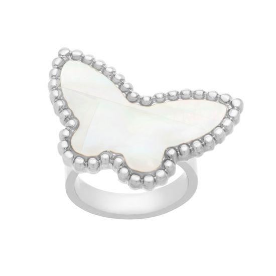 Imagen de Silver-Tone Stainless Steel Freshwater Pearl Butterfly Ring Size 7