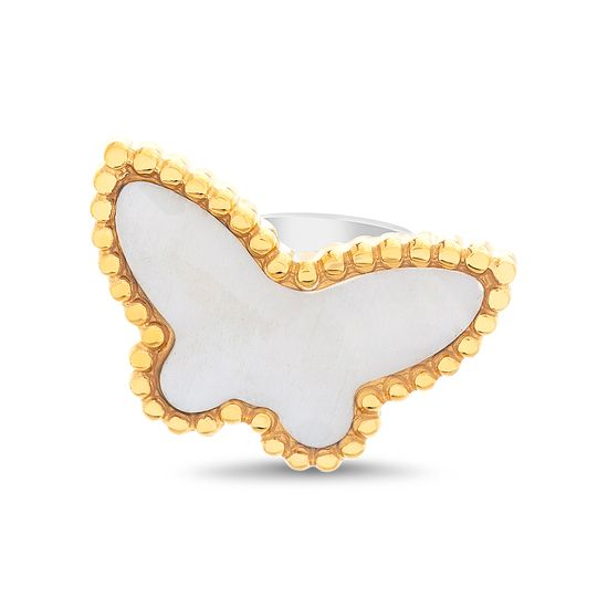 Imagen de Two-Tone Stainless Steel Freshwater Pearl Butterfly Ring Size 6