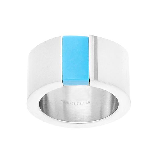 Imagen de Lab Created Turquoise Stone Polished Band Ring in Stainless Steel