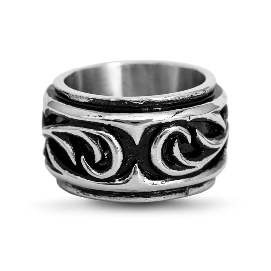 Imagen de Silver-Tone Stainless Steel Swirl Band Ring