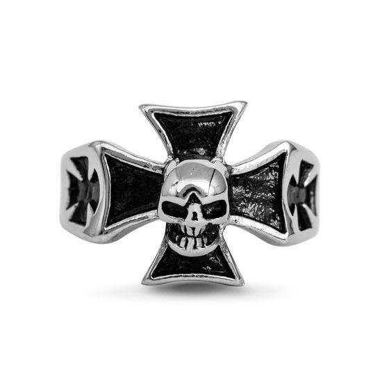 Imagen de Silver-Tone Stainless Steel Skull Cross Ring