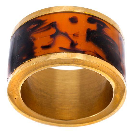 Imagen de Gold-Tone Stainless Steel Tortoise Resin Barrel Ring Size 8