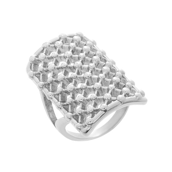 Imagen de Silver-Tone Stainless Steel Polished Open Lattice Rectangular Ring Size 9