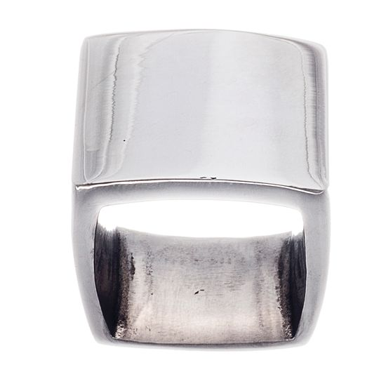 Picture of Silver-Tone Stainless Steel Polished and Smooth Flat Square Band Ring