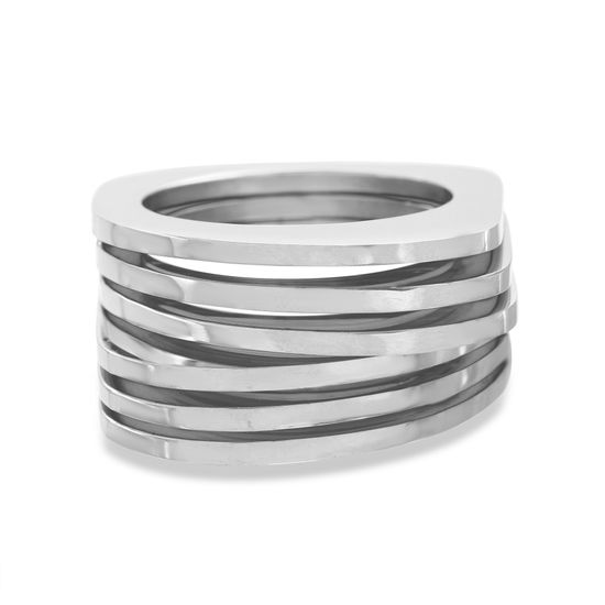 Imagen de Silver-Tone Stainless Steel Multi Row Mesh Ring Size  7