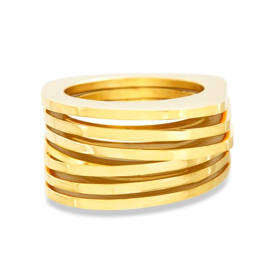 Imagen de Gold-Tone Stainless Steel Multi Row Mesh Ring Size  8