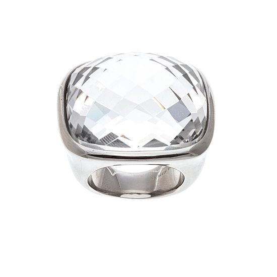 Imagen de Silver-Tone Stainless Steel Oval Faceted Clear Glass Size 8