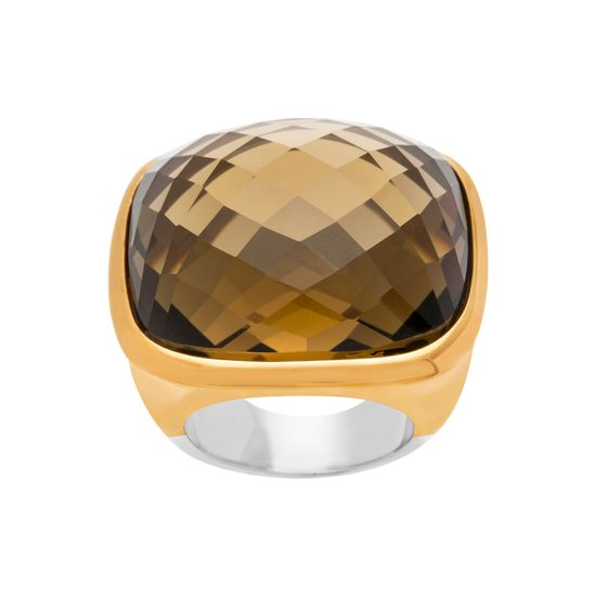 Imagen de Gold-Tone Stainless Steel Oval Faceted Brown Glass Size 9