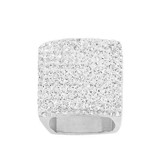 Imagen de Silver-Tone Stainless Steel Cushioned Crystal Square Ring Size 8