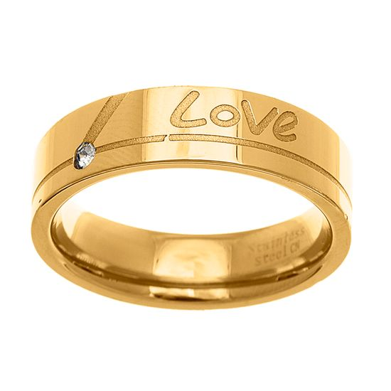 Imagen de Gold-Tone Stainless Steel Men's Crystal Love Engraved Band Ring Size 11