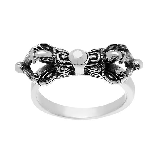 Imagen de Silver-Tone Stainless Steel Men's Oxidized Black Cubic Zirconia Textured Ring Size 9