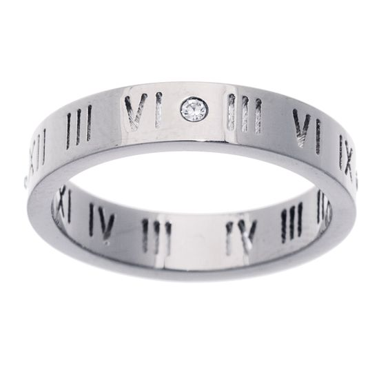 Imagen de STAINLESS STEEL CRYSTAL ROMAN NUMBER CUTOUT RING