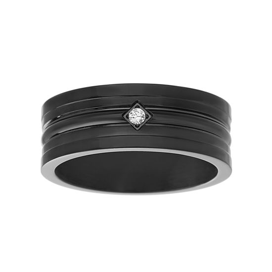 Imagen de Men's Black-Tone Stainless Steel Cubic Zirconia Matte Ring