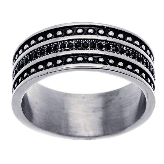 Imagen de Silver-Tone Stainless Steel Cubic Zirconia 3 Row Bead Design and Black  Center Pave and Enamel Row Band Ring