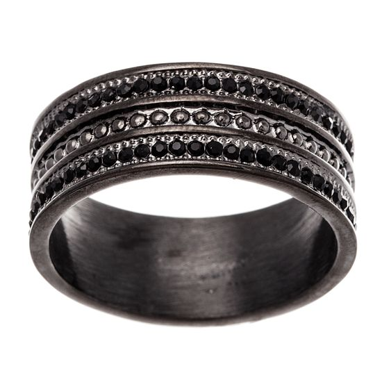 Imagen de Black-Tone Stainless Steel Men's Black Crystal Beaded Texture Eternity Band Ring Size 10