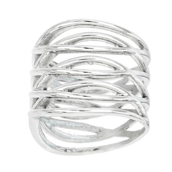Imagen de Silver-Tone Stainless Steel Multi Crossover X Design Ring Size 7