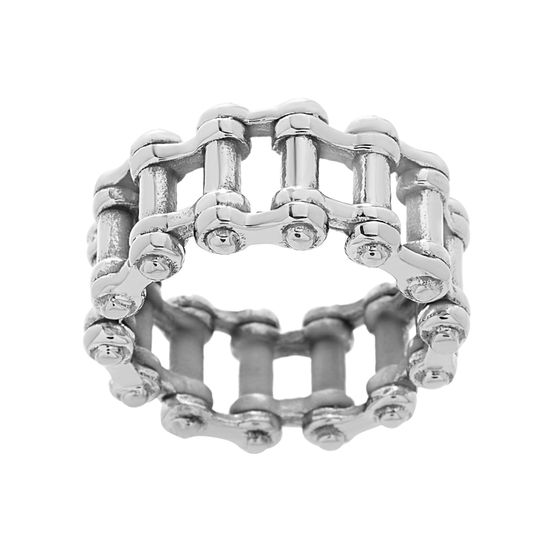 Imagen de Men's Stainless Steel Oxidized Long Cylinder Link Ring