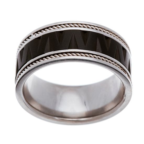 Imagen de Two-Tone Stainless Steel Matte and Polished Zig Zag Spinning Ring