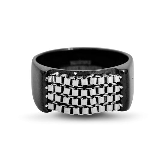 Imagen de Men's Two-Tone Stainless Steel Box Chain Ring