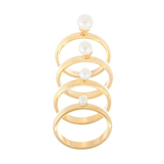Imagen de Gold-Tone Stainless Steel Freshwater Pearl Multi Size Ball Band Ring