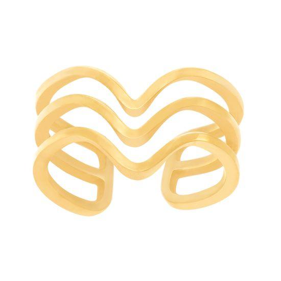 Imagen de Gold-Tone Stainless Steel Triple Row V Shape Open Cut Cuff Ring