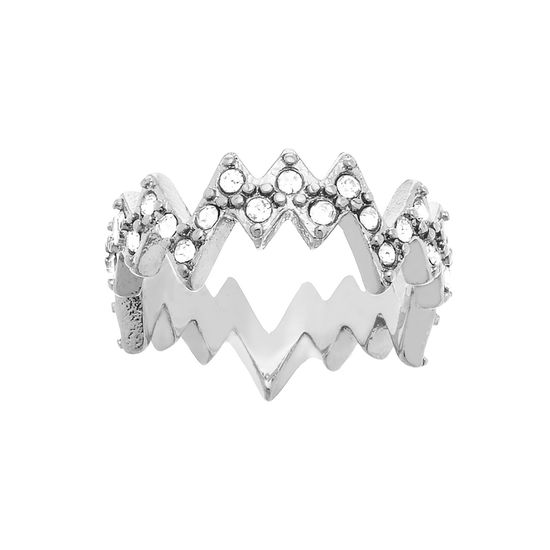 Imagen de Silver-Tone Stainless Steel Cubic Zirconia ZigZag Crown Design Band Ring Size 5