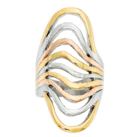 Imagen de Tri-Tone Stainless Steel 9 Strand Open Wavy Ring Size 8
