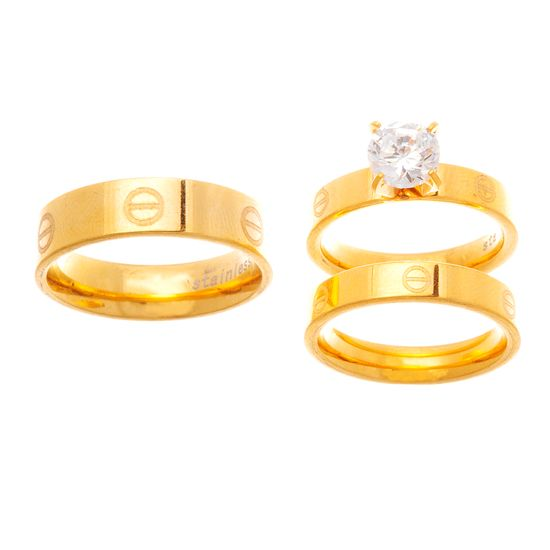 Imagen de STAINLESS STEEL GOLD IP SCREW DESIGN/CRYSTAL 3 PIECE WEDDING BAND RING SET