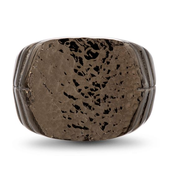 Imagen de men's Black-Tone Stainless Steel Geometric Textured IP Ring