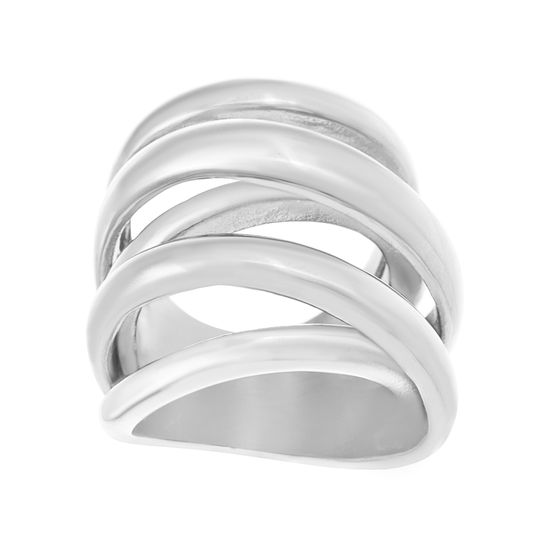 Picture of Silver-Tone Stainless Steel Plain Crossover Ring Size 6