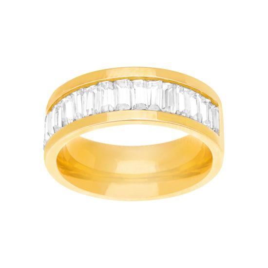 Imagen de Gold-Tone Stainless Steel Cubic Zirconia Baguette Band Ring Size 8