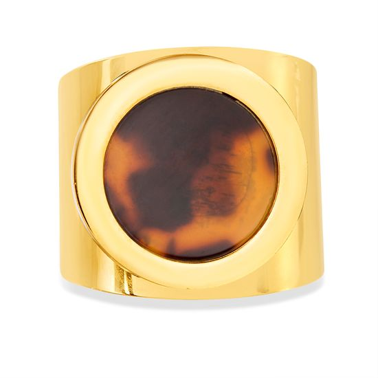 Imagen de Gold-Tone Stainless Steel Flat Tortoise Stone Thick Band Ring Size 7
