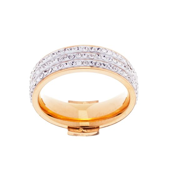 Imagen de Gold-Tone Stainless Steel Cubic Zirconia Square Center Ring Size 9