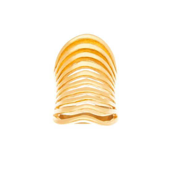 Imagen de Gold-Tone Stainless Steel 10 Wavy Strand Polished Ring Size 8