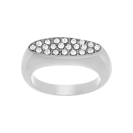 Imagen de Silver-Tone Stainless Steel Crystal Oval Flat Ring Size 8