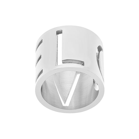 Imagen de Silver-Tone Stainless Steel Love Cutout Wide Band Ring