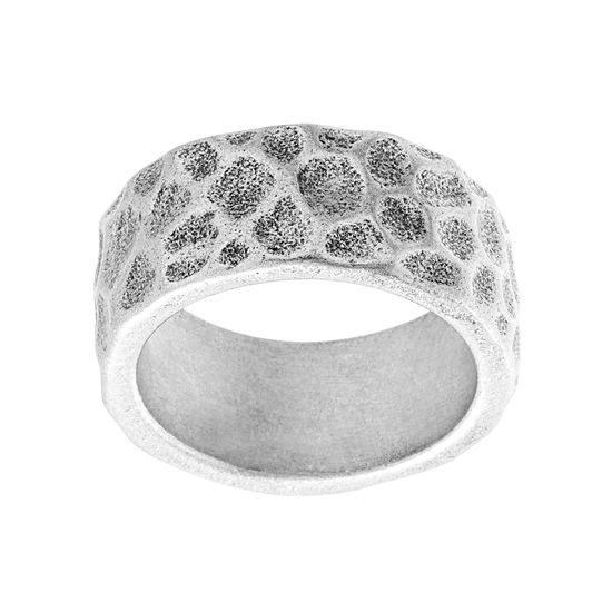 Imagen de Silver-Tone Stainless Steel Men's Oxidized Hammered Eternity Band Ring Size 9