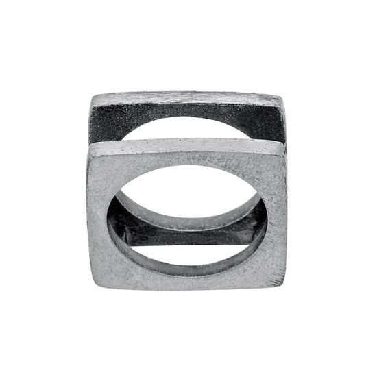 Imagen de Silver-Tone Stainless Steel Men's Oxidized Open Square Ring Size 9