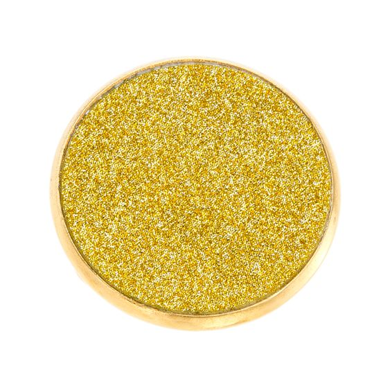 Imagen de Gold-Tone Stainless Steel Round Glitter Disc Ring Size 6