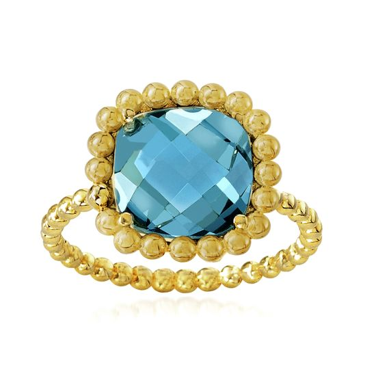 Imagen de Gold-Tone Stainless Steel Square Aqua Glass Beaded Border Ring Size 8