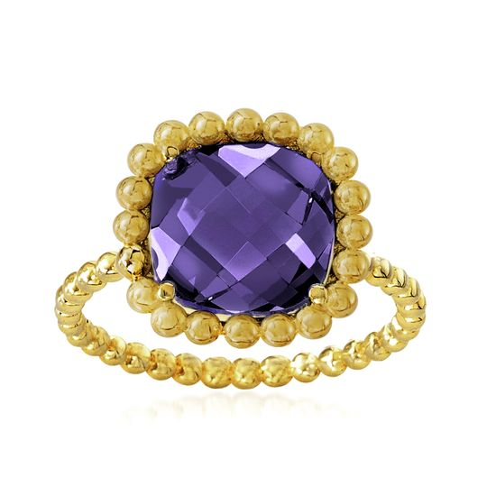 Imagen de Gold-Tone Stainless Steel Square Light Purple Glass Beaded Border Ring Size 8