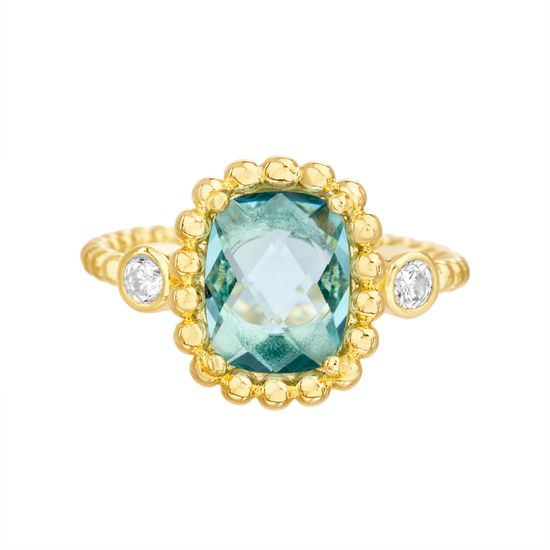 Imagen de Gold-Tone Stainless Steel Center Square Blue Topaz Glass Beaded Border/Band Ring Size 8